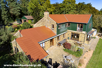 Colored solar roof in red color